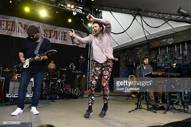 Singer Alex Ebert of Edward Sharpe and the Magnetic Zeros performs onstage at the Rachel Ray Feedback Party at Stubbs BBQ on March 21 2015 in Austin...