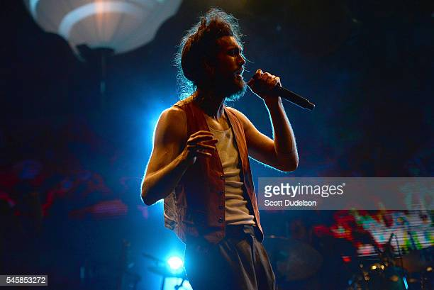 Singer Alex Ebert of Edward Sharpe and the Magnetic Zeros performs onstage at the Annenberg Space for Photography's 'Sound in Focus' event on July 9...