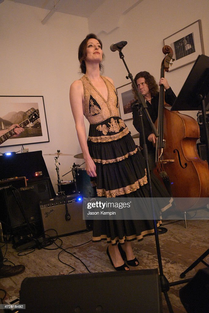 Singer Alex Eden performs during We. Alone. a photography exhibit by Bryan Fox at Think Tank Gallery on May 9, 2015 in Los Angeles, California.