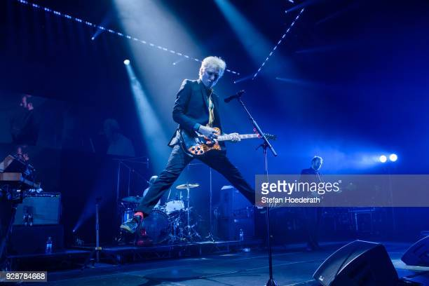 Singer Alex Kapranos and bassist Robert Hardy of Franz Ferdinand perform live on stage during a concert at Tempodrom on March 7 2018 in Berlin Germany