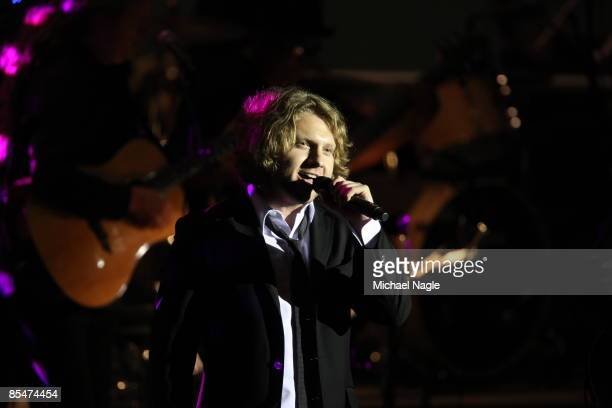 Singer Alex Kogan performs at the Millennium Development Goals Awards Concert in the United Nations' General Assembly Hall on March 17 2009 in New...