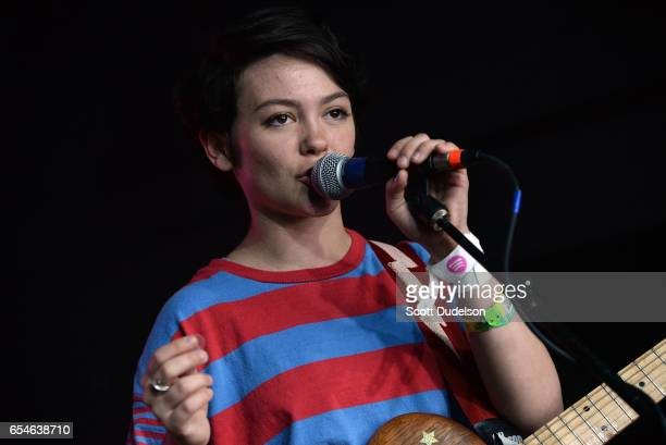 Singer Alex Luciano from the band Diet Cig performs onstage at the Mazda Studio at Empire Garage on March 17 2017 in Austin Texas