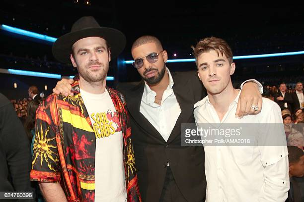 Singer Alex Pall of The Chainsmokers Drake and singer Drew Taggart of The Chainsmokers attend the 2016 American Music Awards at Microsoft Theater on...