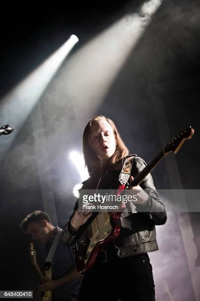 Singer Alex Trimble of the British band Two Door Cinema Club performs live during a concert at the Columbiahalle on February 25 2017 in Berlin Germany
