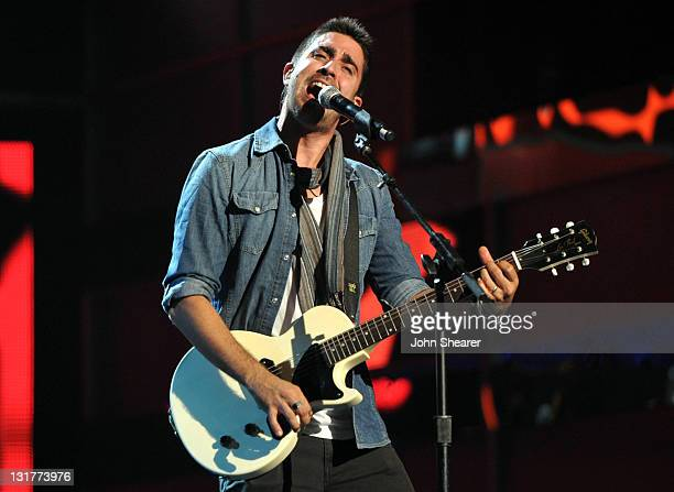 Singer Alex Ubago of Alex Jorge y Lena performs onstage during the 12th Annual Latin GRAMMY Awards Rehearsals Day 1 held at The Mandalay Bay Events...