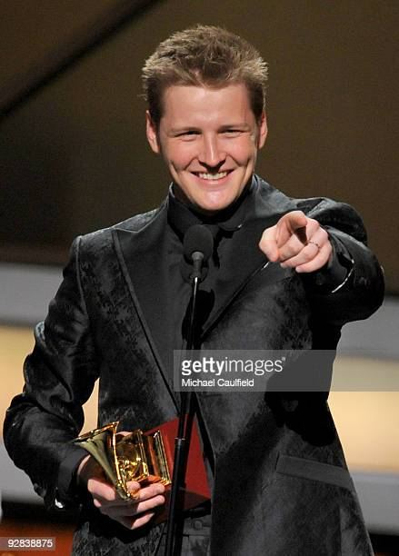 Singer Alexander Acha speaks onstage at the 10th Annual Latin GRAMMY Awards held at the Mandalay Bay Events Center on November 5, 2009 in Las Vegas,...