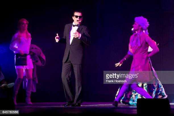 Singer Alexander Kerbst performs as Falco live during the Show 'Falco Das Musical' at the Admiralspalast on February 18 2017 in Berlin Germany