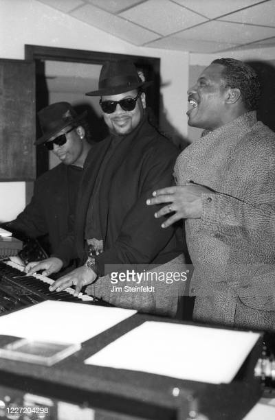 Singer Alexander O'Neal during a recording session with Jimmy Jam and Terry Lewis in Minneapolis Minnesota in 1988
