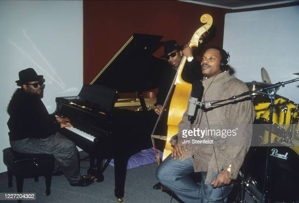 Singer Alexander O'Neal during a recording session with Jimmy Jam on piano and Terry Lewis on bass in Minneapolis Minnesota in 1988
