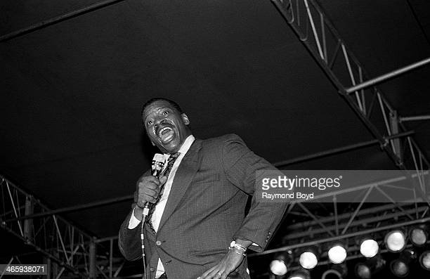 Singer Alexander O'Neal performs at Navy Pier in Chicago Illinois on AUGUST 01 1988