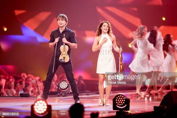 Singer Alexander Rybak and Franziska Wiese perform at 'Schlagerboom Das Internationale Schlagerfest' at Westfalenhalle on October 21 2017 in Dortmund...