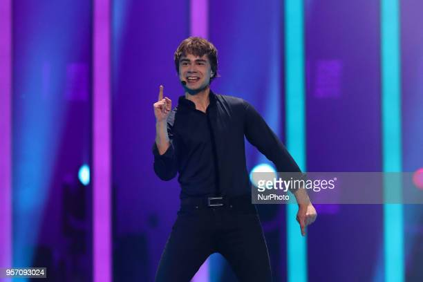 Singer Alexander Rybak of Norway performs during the second semifinal of the 2018 Eurovision Song Contest at the Altice Arena in Lisbon Portugal on...