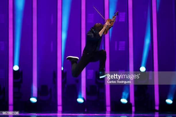 Singer Alexander Rybak representing Norway performs during the second Grand Final Dress Rehearsal of Eurovision Song Contest 2018 in Altice Arena on...