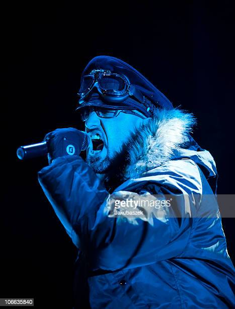 Singer Alexander Wesselsky of the German band Eisbrecher performs live during a concert in support of Alice Cooper at the MaxSchmelingHalle on...