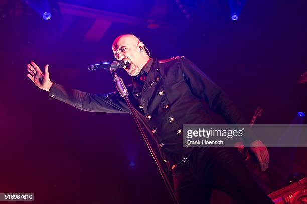 Singer Alexander Wesselsky of the German band Eisbrecher performs live during a concert at the Columbiahalle on March 18 2016 in Berlin Germany