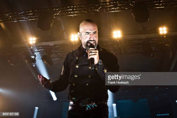 Singer Alexander Wesselsky of the German band Eisbrecher performs live on stage during a concert at the Columbiahalle on October 8 2017 in Berlin...