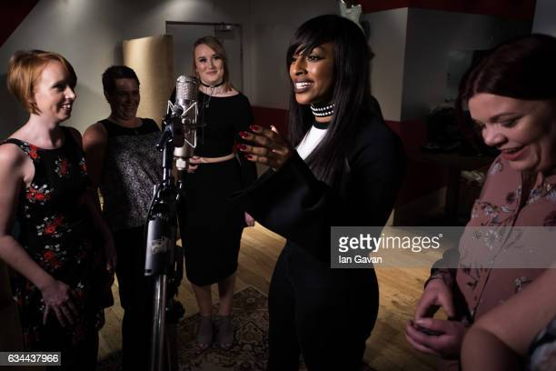 Singer Alexandra Burke and Slimfast slimmers record Nina Simones track 'Feeling Good' for Slimfast at Dean St Studios on January 13 2017 in London...