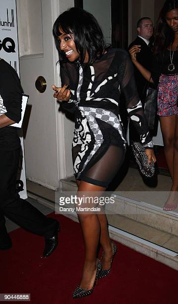 Singer Alexandra Burke leaves the GQ Men Of The Year Awards held at The Royal Opera House on September 8, 2009 in London, England.