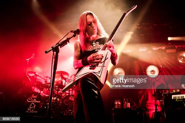 Singer Alexi Laiho of the Finnish band Children of Bodom performs live during a concert at the Astra on March 27 2017 in Berlin Germany