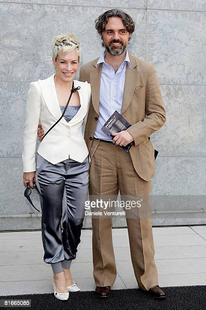 Singer Alexia and husband Andrea Camerana arrive at the Emporio Armani fashion show as part of Milan Fashion Week Spring/Summer 2009 on June 22 2008...