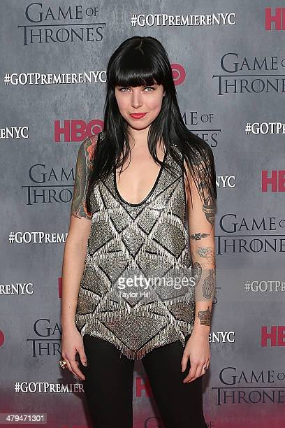 Singer Alexis Krauss of Sleigh Bells attends the 'Game Of Thrones' Season 4 premiere at Avery Fisher Hall Lincoln Center on March 18 2014 in New York...