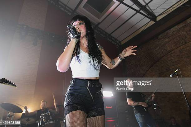 Singer Alexis Krauss of Sleigh Bells performs on stage at Village Underground on July 2 2014 in London United Kingdom