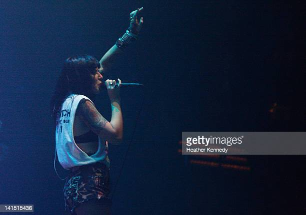Singer Alexis Krauss of Sleigh Bells performs onstage at Vevo during the 2012 SXSW Music Film Interactive Festival at ACL Live at Moody Theatre on...