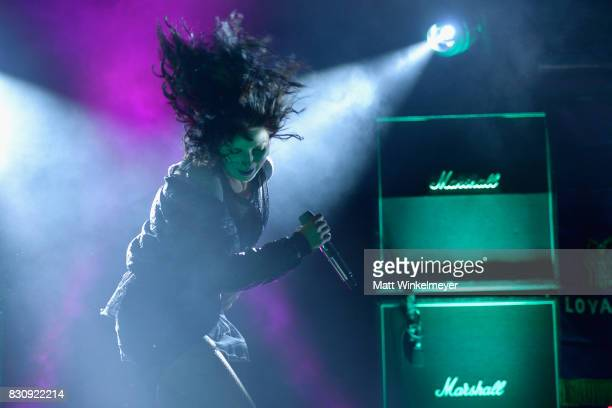 Singer Alexis Krauss of the group Sleigh Bells performs at 2017 Sundance NEXT FEST at The Theater at The Ace Hotel on August 12 2017 in Los Angeles...