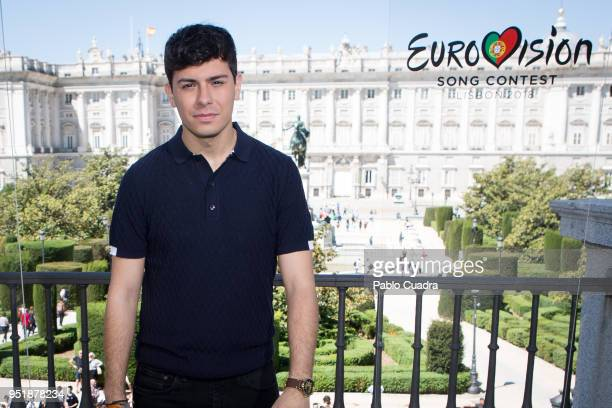 Singer Alfred attends a photocall before Eurovision 2018 at 'Teatro Real' on April 27 2018 in Madrid Spain