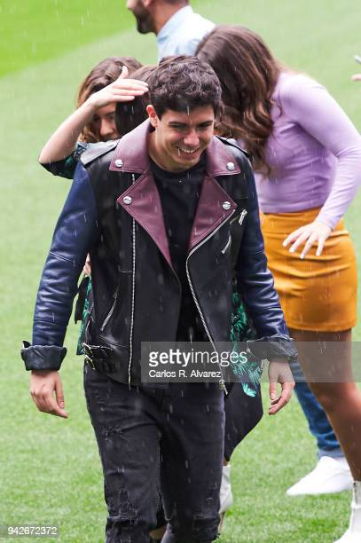 Singer Alfred attends the presentation of 'OT Bernabeu Caminando Juntos' concert at the Santiago Bernabeu Stadium on April 6 2018 in Madrid Spain