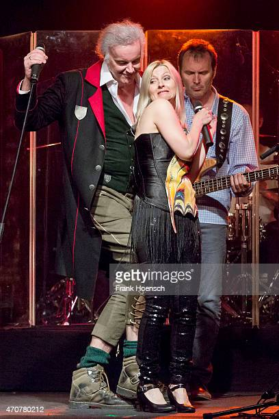 Singer Alfred Fred Jaklitsch and Astrid Wirtenberger of the Austrian band Die Seer perform live during a concert at the Postbahnhof on April 21 2015...