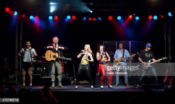 Singer Alfred Fred Jaklitsch Astrid Wirtenberger and Sabine Sassy Holzinger of the Austrian band Die Seer perform live during a concert at the...