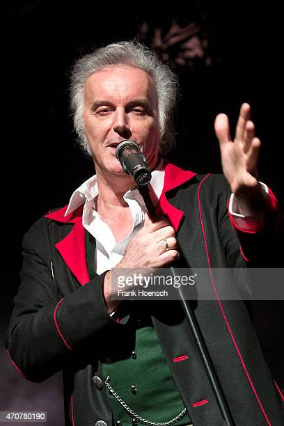 Singer Alfred Fred Jaklitsch of the Austrian band Die Seer performs live during a concert at the Postbahnhof on April 21 2015 in Berlin Germany