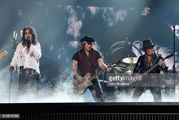 Singer Alice Cooper actor/musician Johnny Depp and musician Joe Perry of Hollywood Vampires perform onstage during The 58th GRAMMY Awards at Staples...