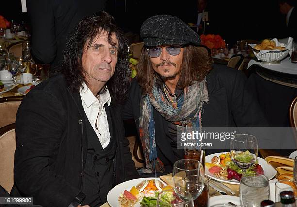 Singer Alice Cooper and actor Johnny Depp attend the 55th Annual GRAMMY Awards PreGRAMMY Gala and Salute to Industry Icons honoring LA Reid held at...