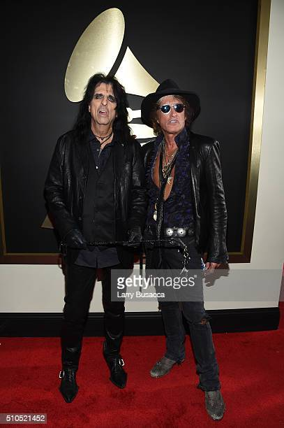 Singer Alice Cooper and musician Joe Perry of Hollywood Vampires attend The 58th GRAMMY Awards at Staples Center on February 15 2016 in Los Angeles...