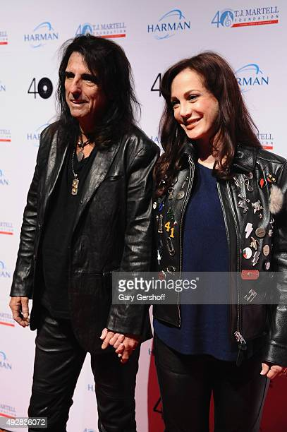 Singer Alice Cooper and Sheryl Goddard attend the TJ Martell 40th Anniversary NY Gala at Cipriani Wall Street on October 15 2015 in New York City