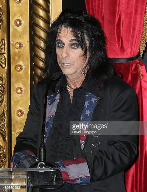 Singer Alice Cooper attends the Motley Crue news conference at Beachers Madhouse at the Roosevelt Hotel on January 28 2014 in Hollywood California