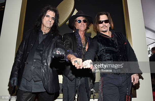 Singer Alice Cooper musician Joe Perry and actor/musician Johnny Depp of Hollywood Vampires attend The 58th GRAMMY Awards at Staples Center on...