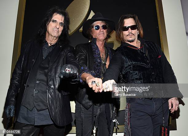 Singer Alice Cooper musician Joe Perry and actor/singer Johnny Depp of Hollywood Vampires attend The 58th GRAMMY Awards at Staples Center on February...