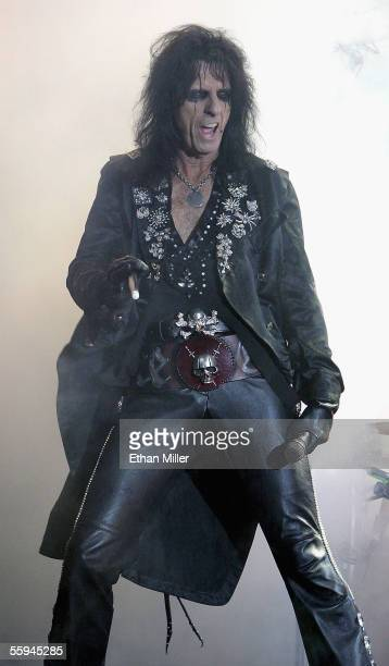 Singer Alice Cooper performs during a soldout show at the Joint inside the Hard Rock Hotel Casino on October 17 2005 in Las Vegas Nevada The...