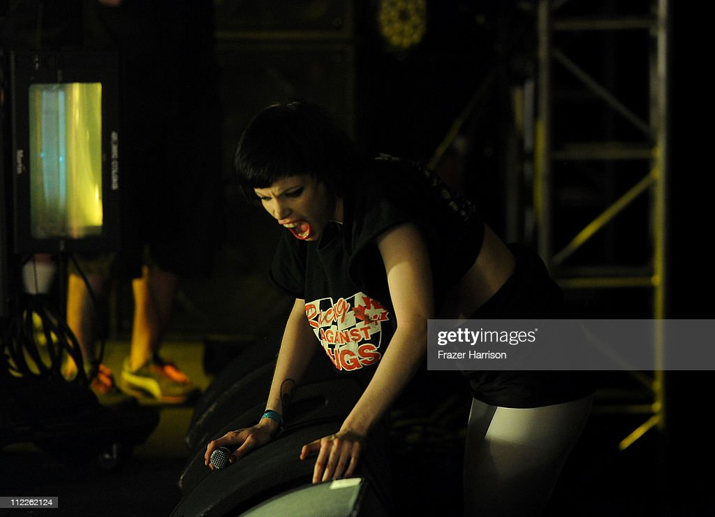 Singer Alice Glass of Crystal Castles performs during Day 1 of the Coachella Valley Music & Arts Festival 2011 held at the Empire Polo Club on April 15, 2011 in Indio, California.