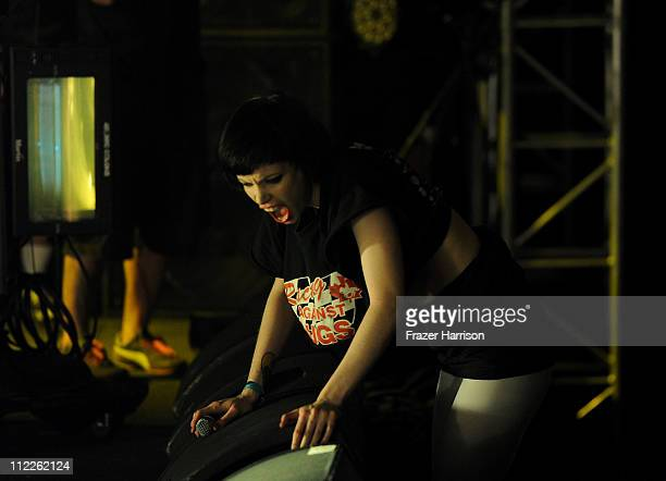 Singer Alice Glass of Crystal Castles performs during Day 1 of the Coachella Valley Music Arts Festival 2011 held at the Empire Polo Club on April 15...