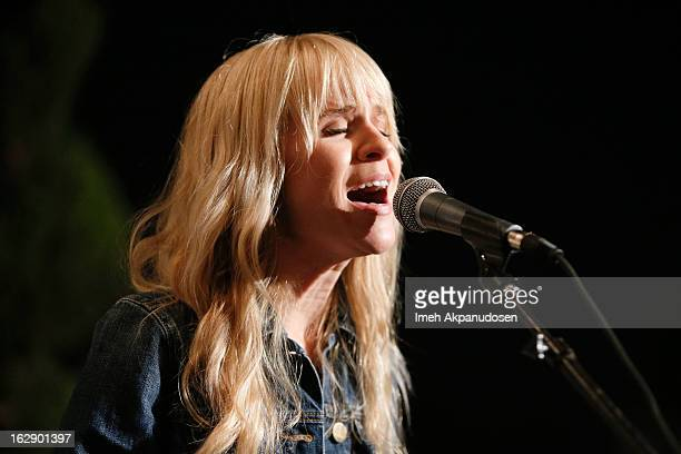 Singer Alice Katz of the band Youngblood Hawke performs onstage at the 987FM Penthouse Party at The Historic Hollywood Tower on February 28 2013 in...