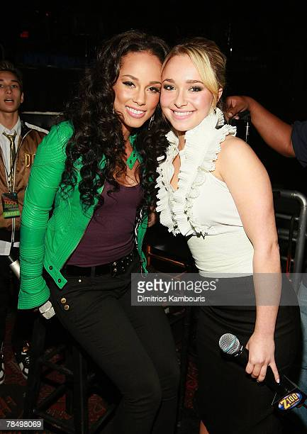 NEW YORK DECEMBER 14 Singer Alicia Keys and actress Hayden Panettiere backstage during Z100's Jingle Ball 2007 at Madison Square Garden on December...