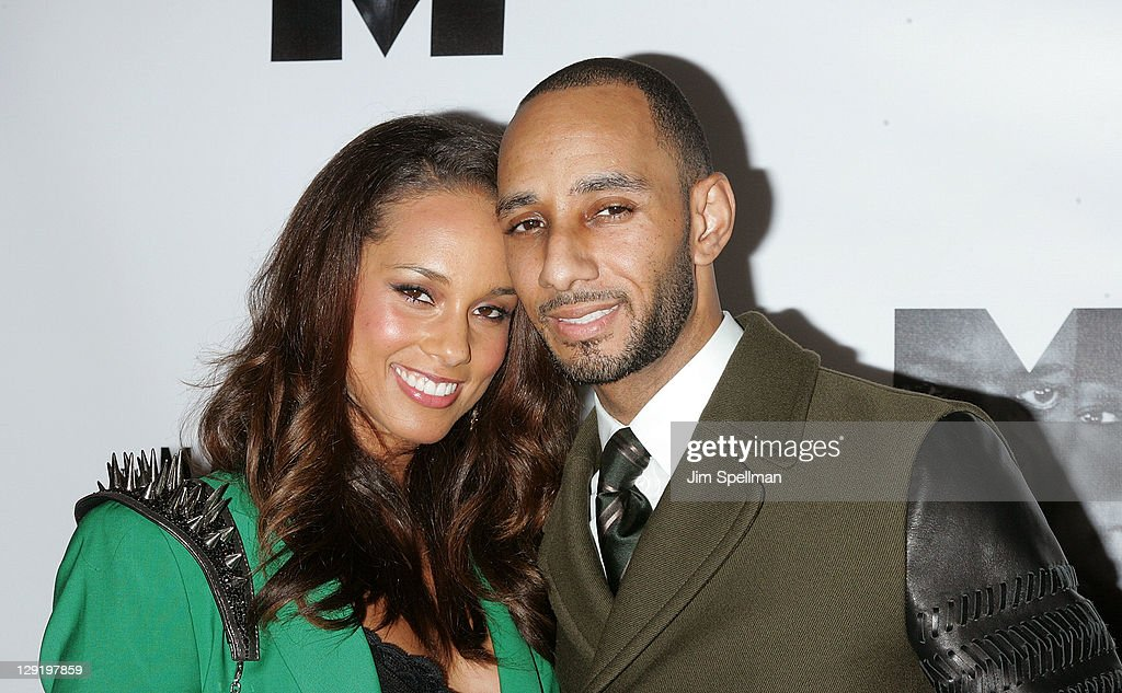 Singer Alicia Keys and husband Swizz Beatz attend 'The Mountaintop' Broadway opening night at The Bernard B. Jacobs Theatre on October 13, 2011 in New York City.