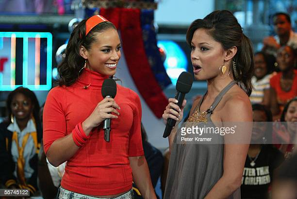 Singer Alicia Keys and MTV VJ Vanessa Minnillo make an appearance on MTV's Total Request Live on September 22 2005 at the MTV Times Square Studios in...