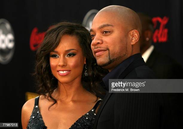 Singer Alicia Keys and producer Kerry 'Krucial' Brothers arrive at the 2007 American Music Awards held at the Nokia Theatre LA LIVE on November 18...