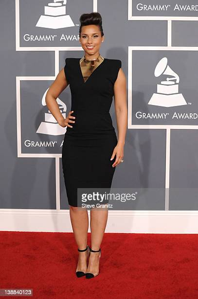 Singer Alicia Keys arrives at The 54th Annual GRAMMY Awards at Staples Center on February 12 2012 in Los Angeles California