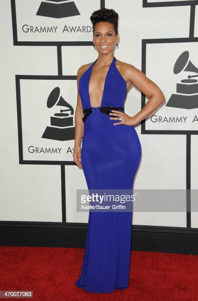Singer Alicia Keys arrives at the 56th GRAMMY Awards at Staples Center on January 26 2014 in Los Angeles California